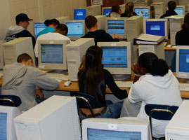 Students working on computers